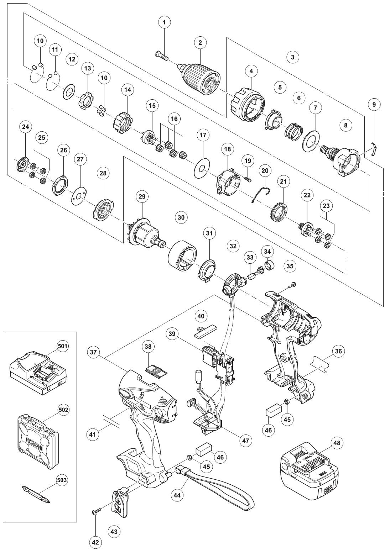 Części zamienne HITACHI  Wkrętarki  DS14DSL  Części   -> Kuchnia Kaflowa Schemat Budowy